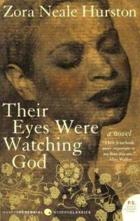 Cover image for Zora Neale Hurston's Their Eyes Were Watching God. Sepia-tone background. A dark-skinned woman with rosy cheeks and dark, full lips tilts her head toward the reader, eyes closed and brow slightly furrowed. Gold leaf flowers sprawl across the bottom third of the cover, lending a mystical, magical air.